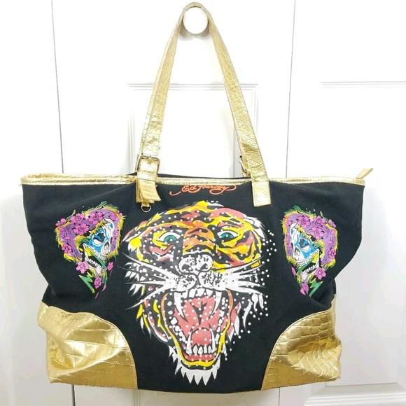 ea053db64d7 ... ED HARDY black gold rhinestone tiger tote bag half off cacea 4d8af ...